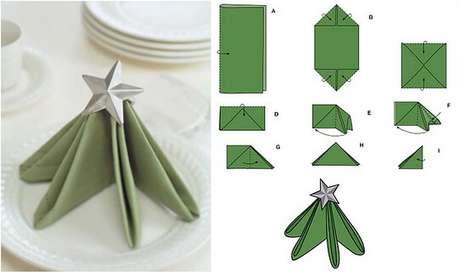 26. Árvore de natal artesanal feita com dobradura de guardanapo de pano. Foto de Fab Art DIY