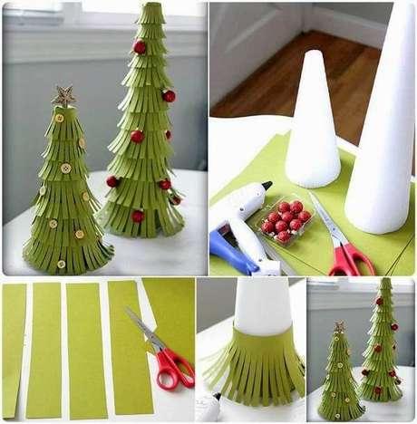 27. Exemplos de árvores artesanais de isopor e papel. Foto de GooDIY