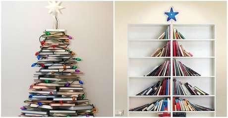 4. Até mesmo livros podem ser usados para fazer uma árvore de natal artesanal. Foto de Elite Readers