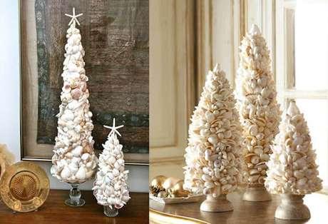 49. Árvores de natal diferentes feitas com conchas. Foto de Dumna Padu