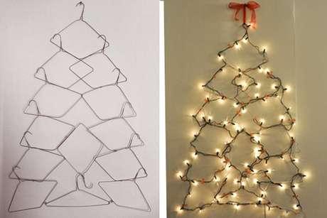 22. Até mesmo cabides podem ser usados para fazer uma árvore de natal artesanal. Foto de House Logic