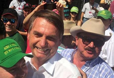 O presidenciável Jair Bolsonaro em campanha com ruralistas