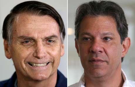 Os candidatos Jair Bolsonaro (PSL) e Fernando Haddad (PT)