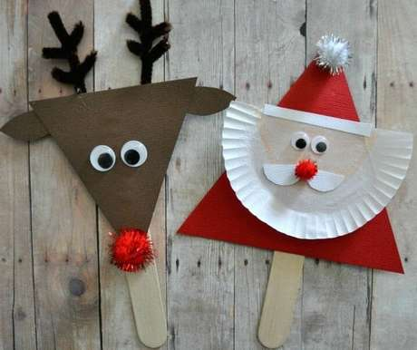 22- Papai Noel e Rena de papel é fácil e rápido para fazer
