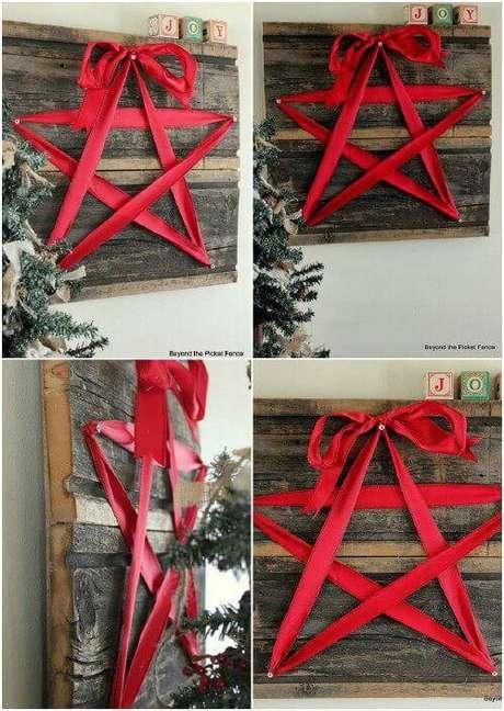 29- Basta um pallet e uma fita para fazer um artesanato de Natal lindo