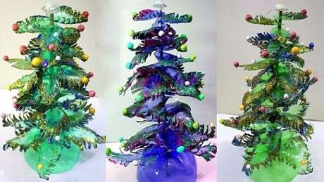 56. Mini árvores de garrafa PET verdes e azuis. Foto de YouTube