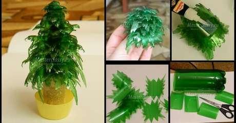 16. Mini árvore de natal de garrafa PET com folhas feitas da garrafa. Foto de Masterclassy