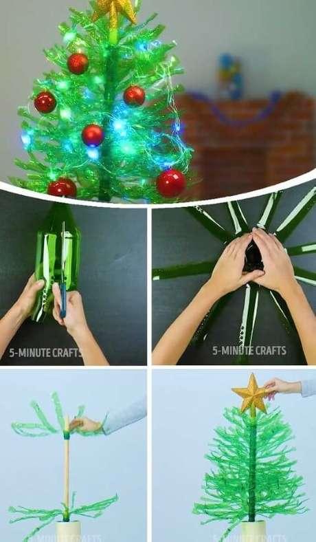 17. Árvore de natal de garrafa PET com luzes pisca pisca e bolinhas natalinas. Foto de 5-Minute Crafts