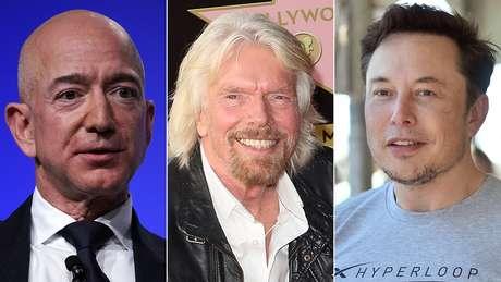 Jeff Bezos, Richard Branson e Elon Musk fizeram fortuna em outros ramos, como a indústria da música e a internet, e querem ser os primeiros a mandar turistas ao espaço