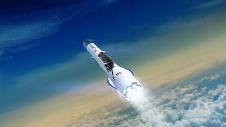 O New Glenn, na foto, é um dos foguetes desenvolvidos pela Blue Origin; a empresa é considerada a mais cautelosa na nova corrida espacial