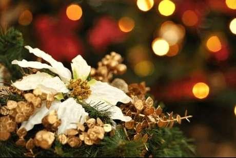 16- A flor de natal na cor branca também é muito utilizada para enfeitar a ceia de natal. Fonte: Getty Images