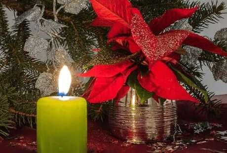18- A flor de natal artificial pode ser feita com tecido e aplicação de glitter sobre as folhas. Fonte: Pinterest