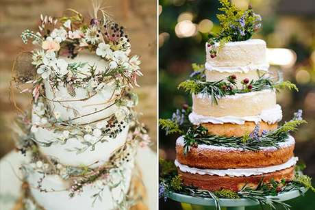 11. O bolo jardim secreto pode também ter decoração natural, com flores e folhas de verdade. À direita, vemos um naked cake. Foto de Constance Zahn