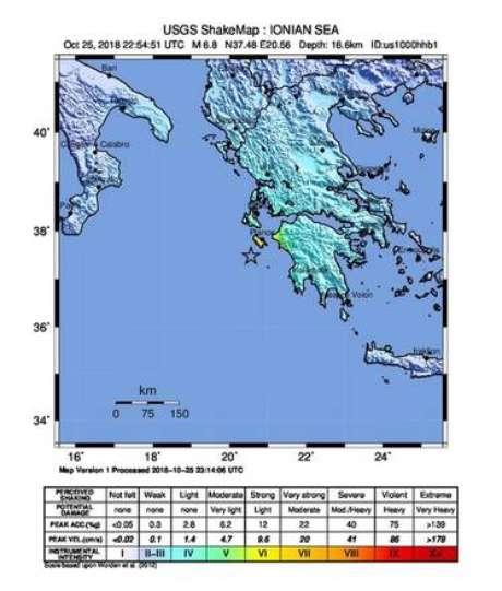 Mapa mostra região atingida por terremoto na Grécia