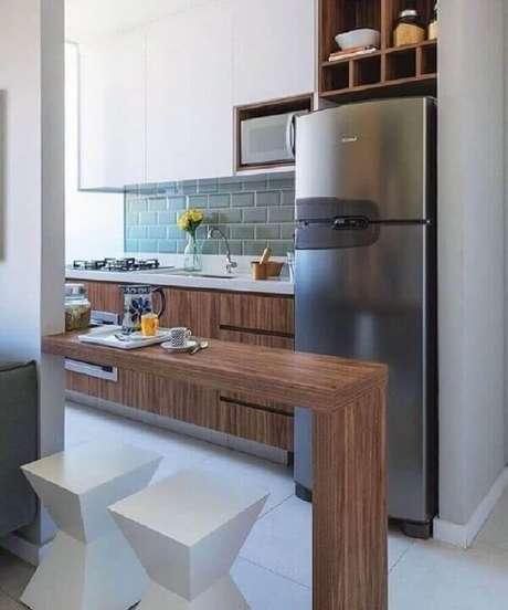 19. Decoração simples para cozinha americana com sala – Foto: Pinterest