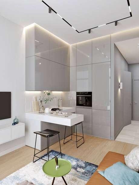 2. A cozinha integrada é uma excelente opção para casas e apartamentos pequenos – Foto: Behance