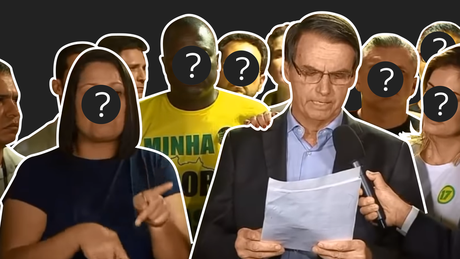 Bolsonaro discursou ao lado de aliados, uma intérprete de Libras e a esposa depois das eleições no domingo, 28