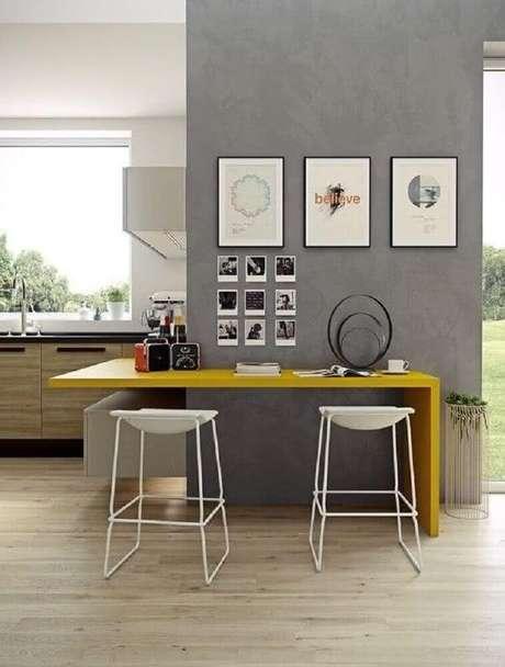 60. Bancos com design minimalista para cozinha moderna