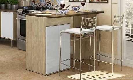 17. Bancos simples para cozinha americana decorada