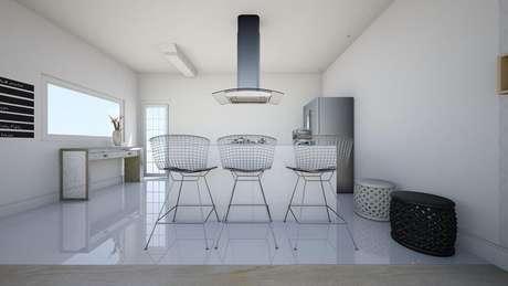 34. Banquetas de ferro com estilo minimalista para cozinha americana