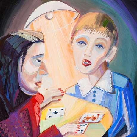 Ilustração da garota na vidente