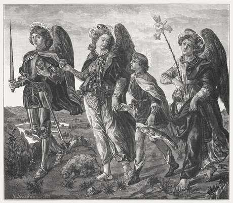 Três arcanjos e Tobias, pintado (c.1470) por Francesco Botticini