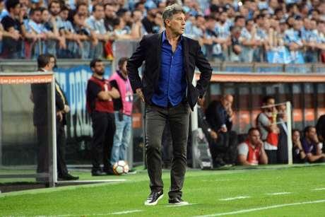Renato Portaluppi, técnico do Grêmio, durante partida contra o River Plate, válida pelas semifinais da Copa Libertadores da América, na Arena Grêmio, em Porto Alegre (RS), nesta terça-feira, 30
