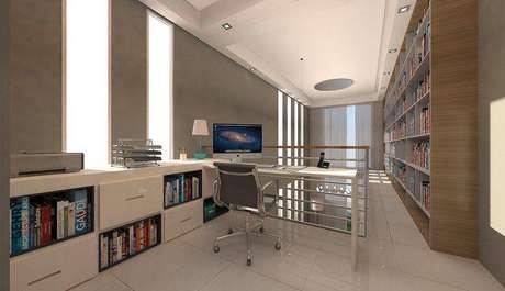 12. Você pode mesclar uma biblioteca e um home office no mezanino