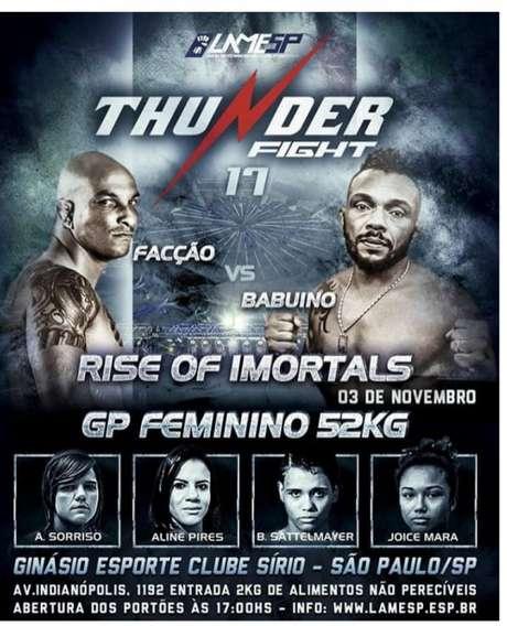 Thunder Fight 17, em São Paulo, terá transmissão ao vivo nas redes sociais da RedeTV! (Foto: Thunder/Divulgação)