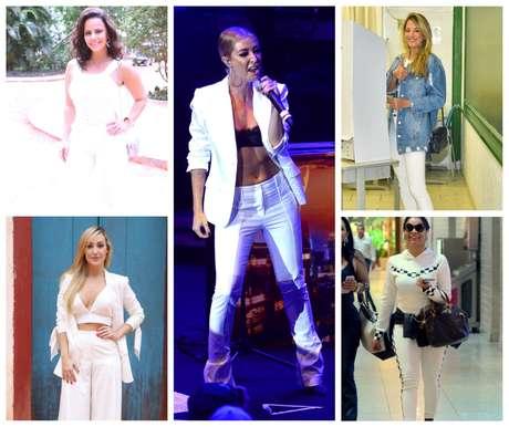 Famosas apostam em calças brancas