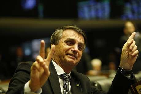 O deputado federal Jair Bolsonaro (PSC-RJ) no plenário da Câmara dos Deputados, em Brasília.