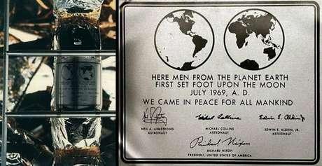 Placa de recordação da missão Apolo 11, levada à Lua em 1969.