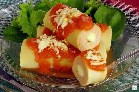 Canelone de presunto e queijo