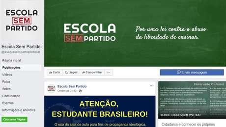Página do Escola Sem Partido no Facebook tem mais de 190 mil curtidas