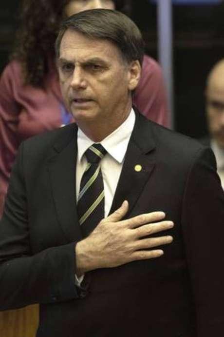Bolsonaro durante sessão solene no Congresso Nacional