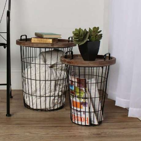 14. Modelos de cestos aramados para decoração de sala – Foto: Bed Bath & Beyond
