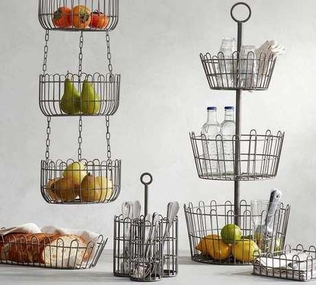 16. O cesto aramado também é muito utilizado como fruteira – Foto: Pinterest