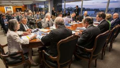Os ministros do STF na sessão administrativa que decidiu pelo aumento