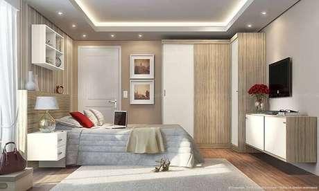 56- O armário planejado de canto tem portas de correr. Fonte: LojasKD
