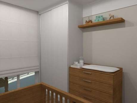 21. Guarda-roupa planejado pequeno em quarto de bebê. Projeto de Essa Arquitetura
