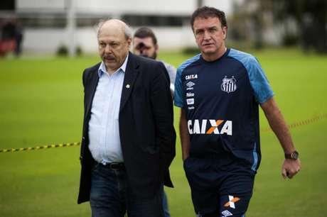 Dupla se encontrou no CT Rei Pelé, nesta quinta-feira (Foto: Ivan Storti/Santos)