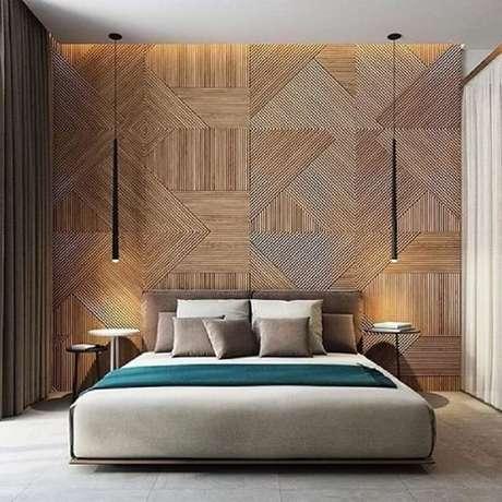 57. O design minimalista das luminárias de teto para quarto ganharam bastante destaque na decoração – Foto: Tile Design Gallery
