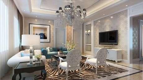 30. Sala decorada com luminária de teto tipo lustre