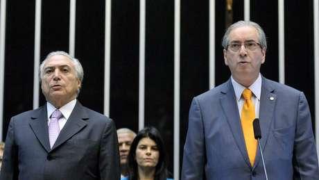 Gravação feita por Joesley mostrou conversa entre ele e o presidente Michel Temer (esq.); no diálogo, o empresário cita o ex-deputado Eduardo Cunha (dir.)