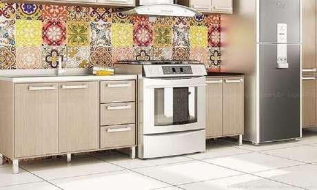 28. Decoração com azulejo de ladrilhos coloridos para cozinha