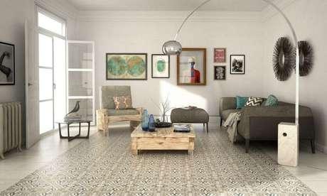 33. Decoração sala de estar com piso hidráulico