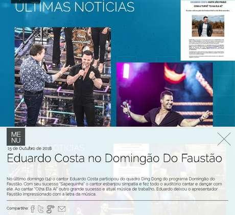 Site do cantor destaca participação dele no Domingão do Faustão