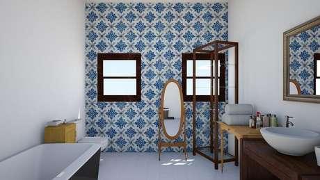 49. Ladrilho hidráulico para banheiro com decoração simples