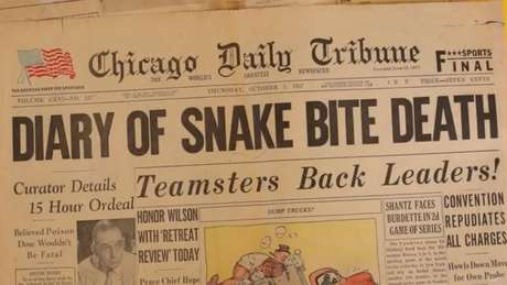 A morte de Schmidt foi manchete do jornal Chicago Daily Tribune, em 3 de outubro de 1957