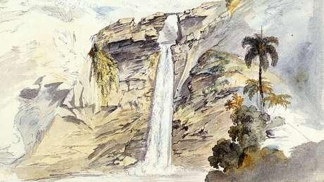 Pintura de Moritz Rugendas retratando a Cachoeira de Ouro Preto / Reprodução de imagens Pablo Diener - Tratamento Entrelinhas Editora